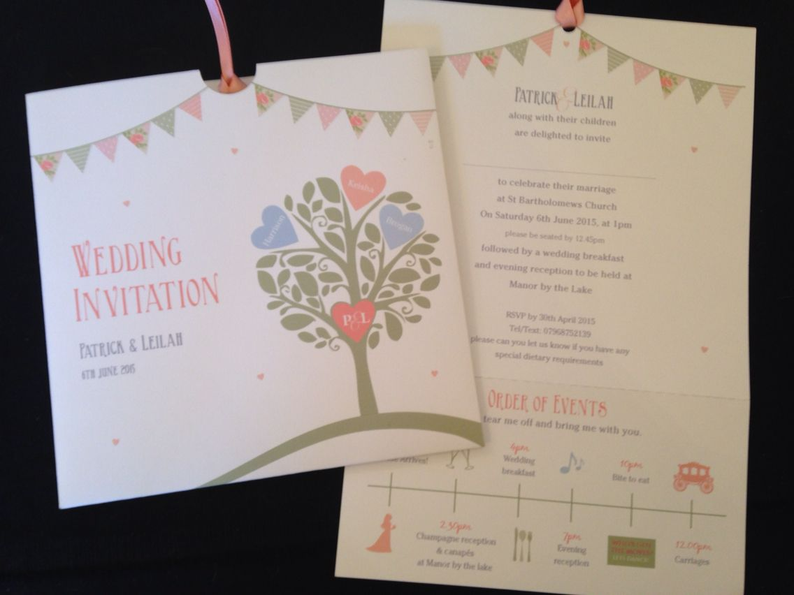 wedding stationery packages uk%0A Love tree wedding invitation  order of events  www louiserowlesdesigns co uk