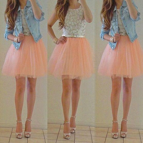 Peach skirt w leaf tank and jean jacket so cute