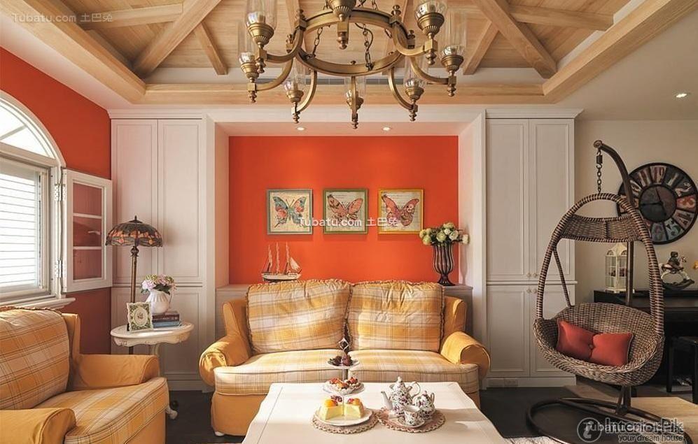 Simple European duplex home living room design