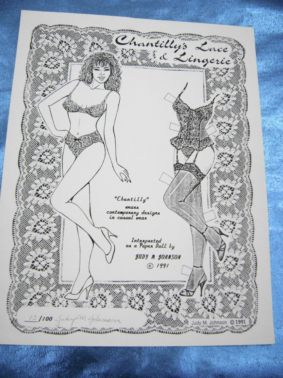 VTG PAPER DOLL CONVENTION 1990s JUDY JOHNSON CHANTILLY'S LACE SIGNED UNCUT RARE | eBay