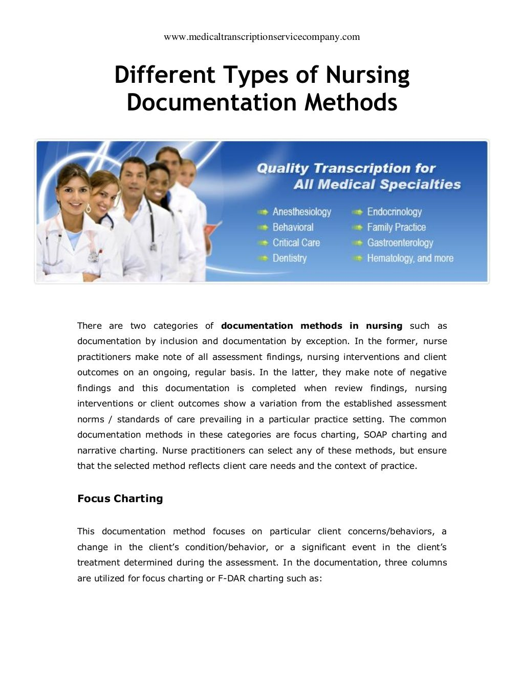 Different Types Of Nursing Documentation Methods By Medical