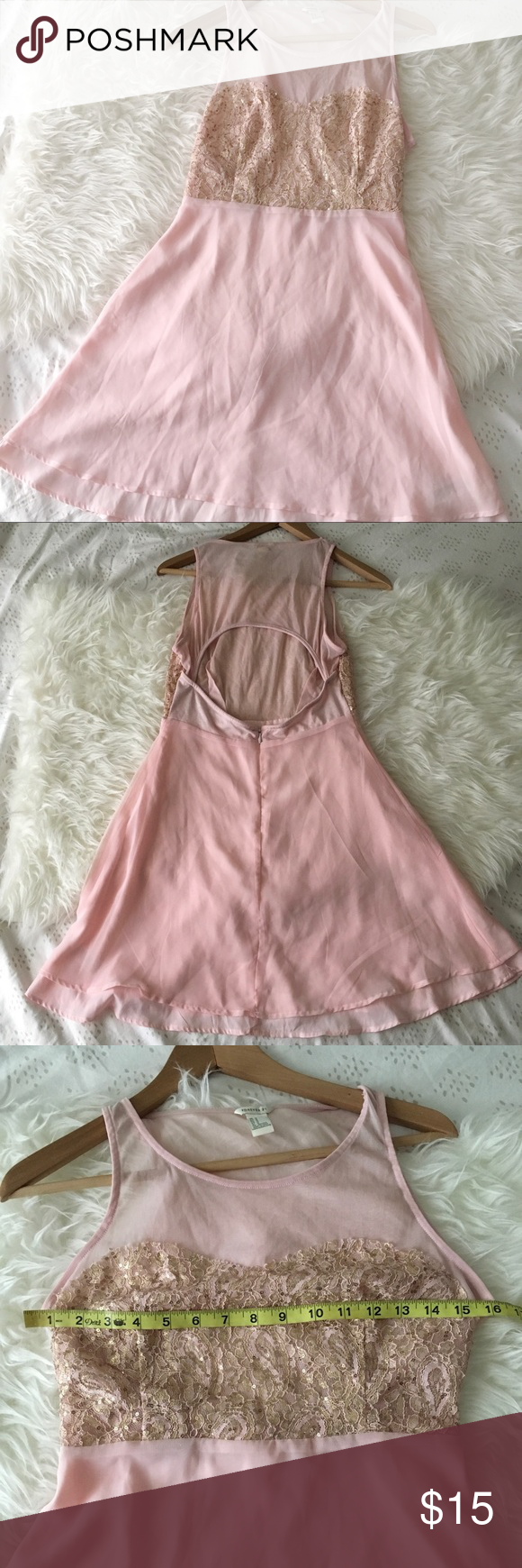 Pink flowy dress with gold sequins bellaus poshmark closet