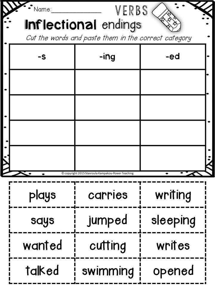 Inflectional Endings   Root words, Worksheets and Word work