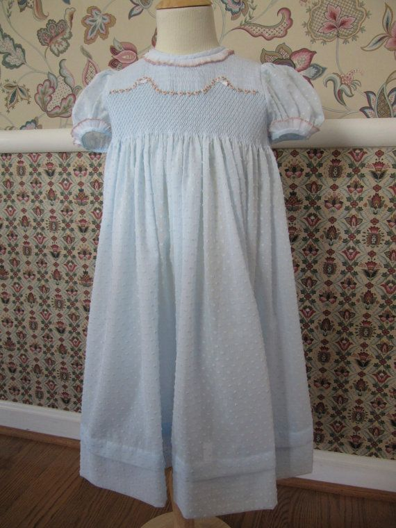 Blue dotted Swiss voile shaped yoke party dress | Heirloom ...