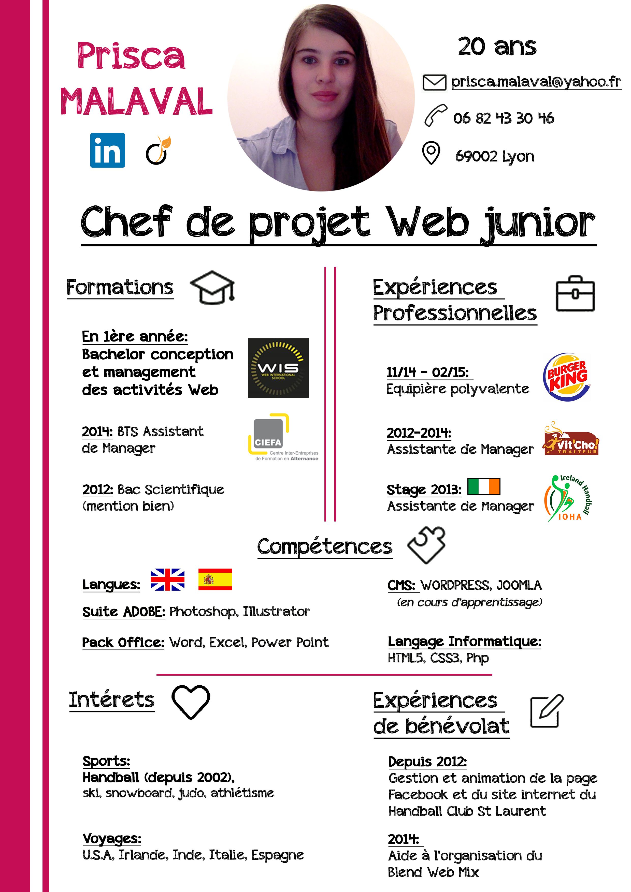 cv chef de projet web junior  photoshop