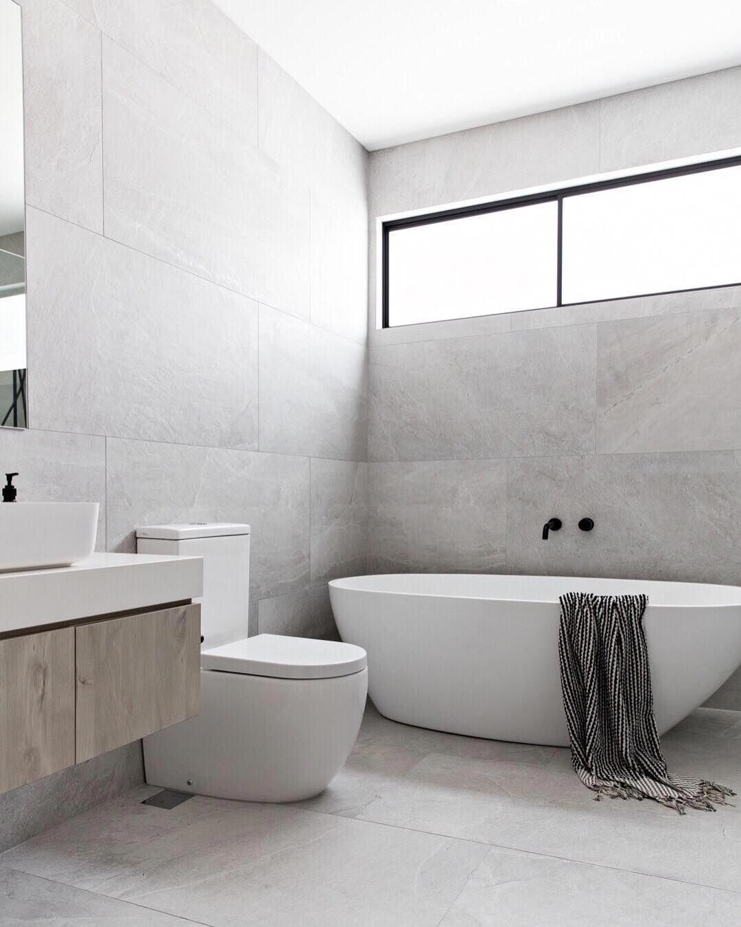 Design Styling Reno Tips On Instagram Z S Design Crush Large Format Tiles If There S One Thing Modern Bathroom Minimalist Bathroom Small Bathroom