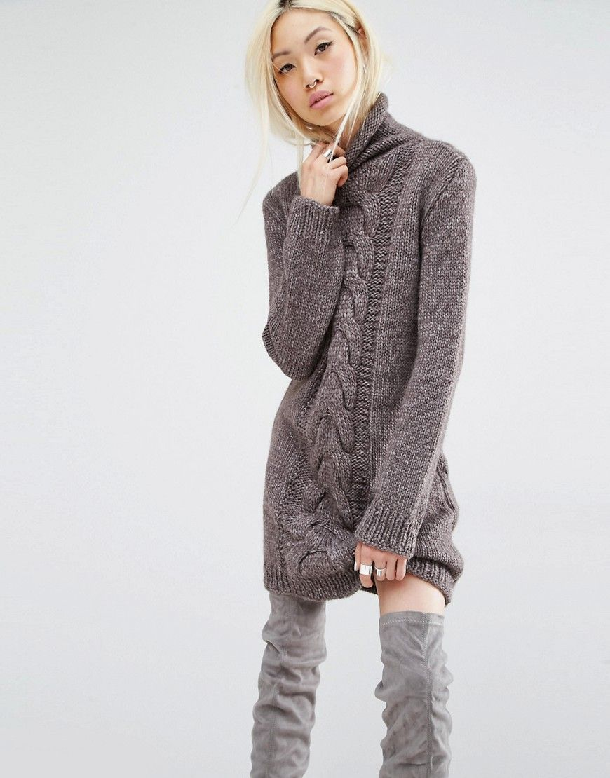 Image 1 Of Oneon Hand Woven Jumper Dress With Cable Detail Sweater Dress Hand Knitted Sweaters Sweater Fashion [ 1110 x 870 Pixel ]