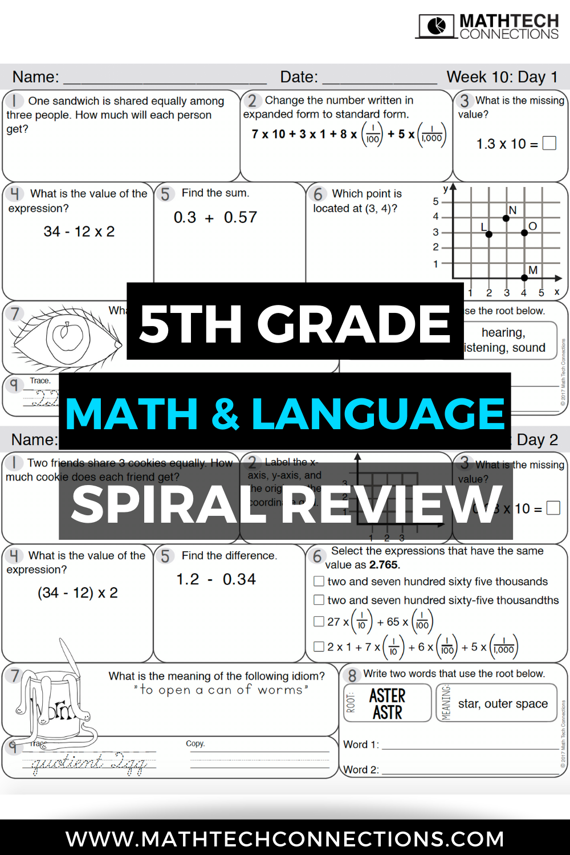 Predownload: 5th Grade Morning Work Free Sample 5th Grade Math Math Spiral Review Math Printables [ 1500 x 1000 Pixel ]
