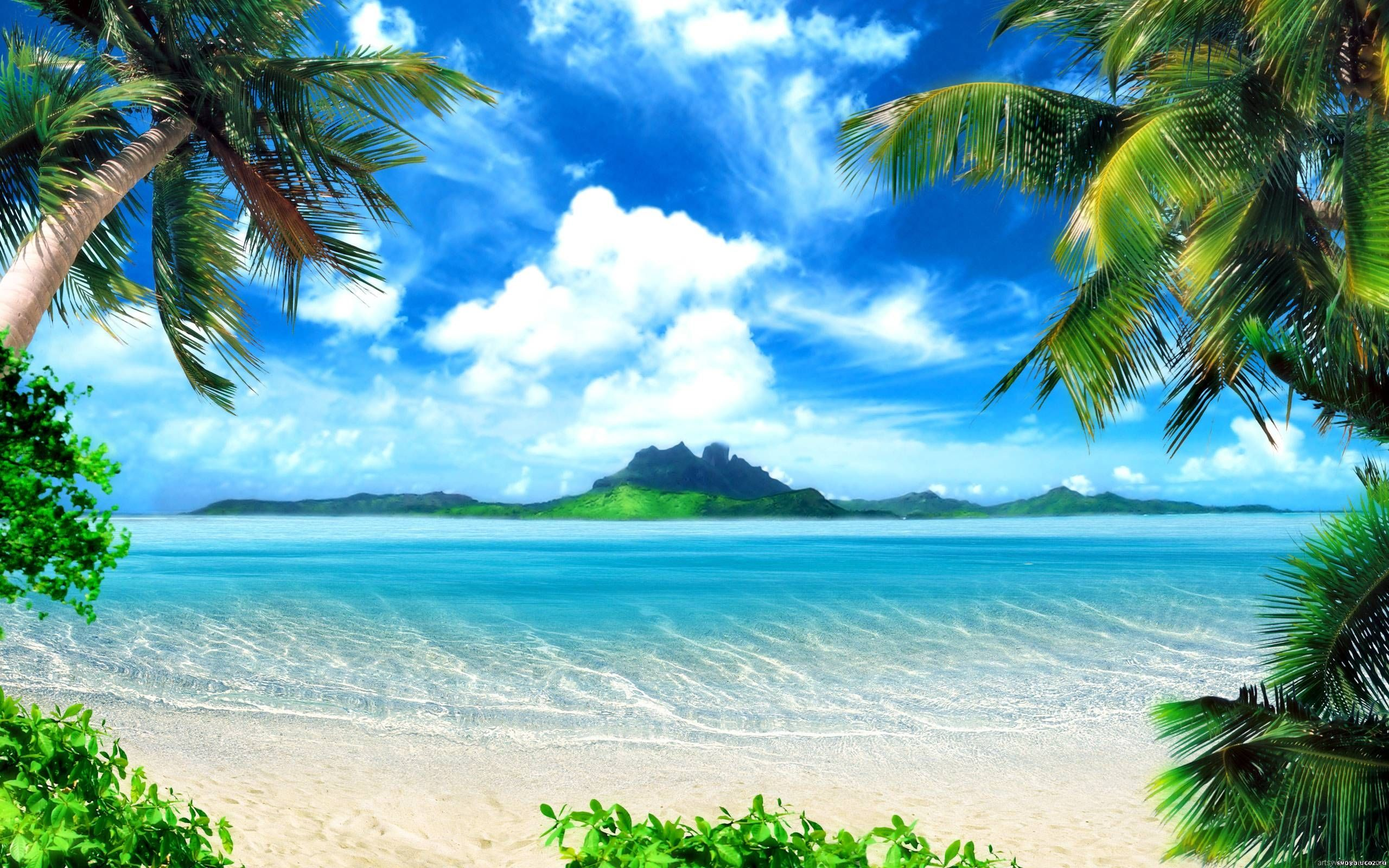 Hd Tropical Island Beach Paradise Wallpapers And Backgrounds: Sea Ocean Wallpaper, HD, Full HD