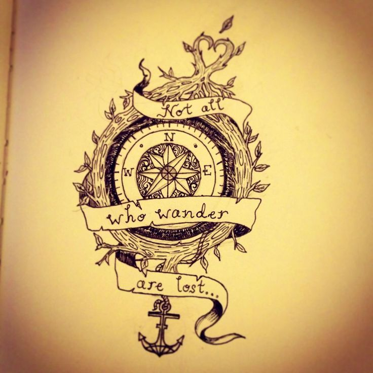 Not All Those Who Wander Are Lost Tattoo Compass Not All Who Wander Are Lost Compass Tattoo Top Compass Tattoo Flash Mappe Antiche Tatoo Idee