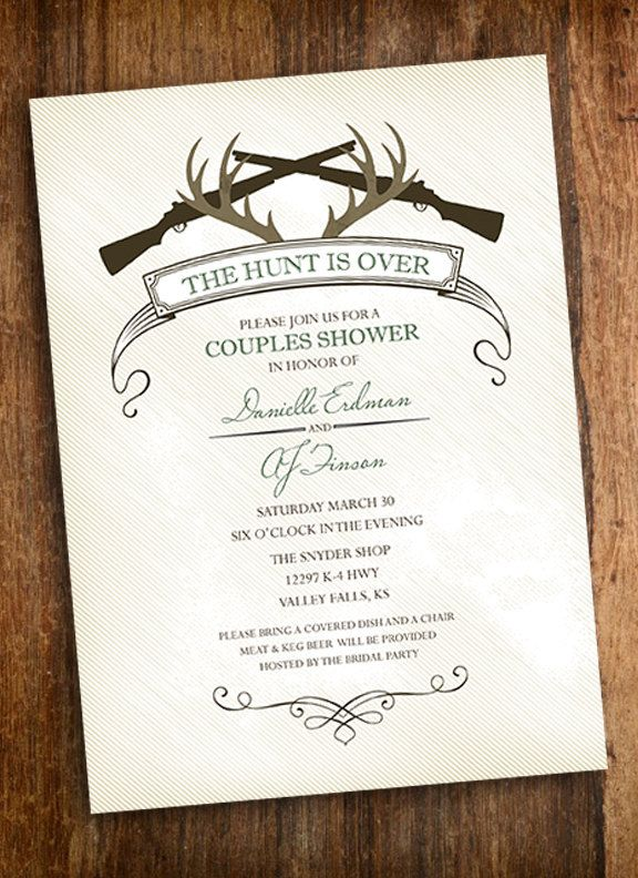 the hunt is over hunting couples shower invitation invite rh pinterest com
