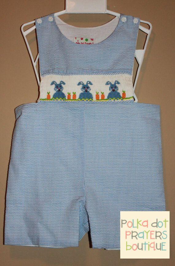 493edb9fa Boy s Blue Gingham Smocked Easter Bunny Shortall   Jon Jon ...