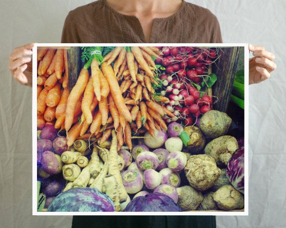 "Large wall art 16x20 - poster print photograph, food photography, Kitchen art, farmers market, colorful garden vegetables ""Rainbow Market"". $90.00, via Etsy."