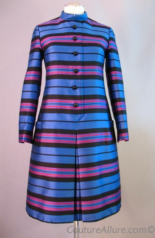 1960s silk striped coat-dress from Couture Allure. #vintage #color #contrast #blue #pattern #stripes