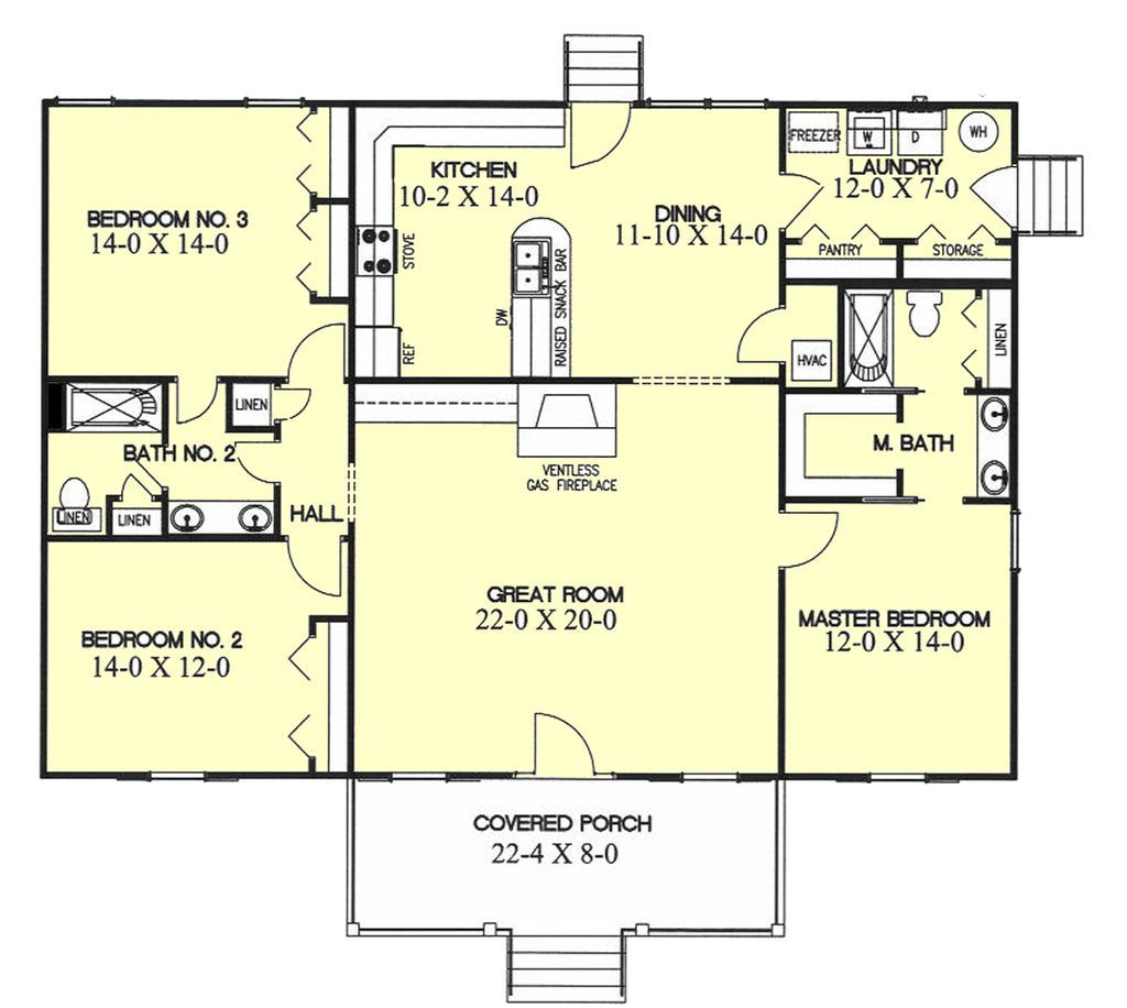 Southern Style House Plan   3 Beds 2 Baths 1700 Sq/Ft Plan #44