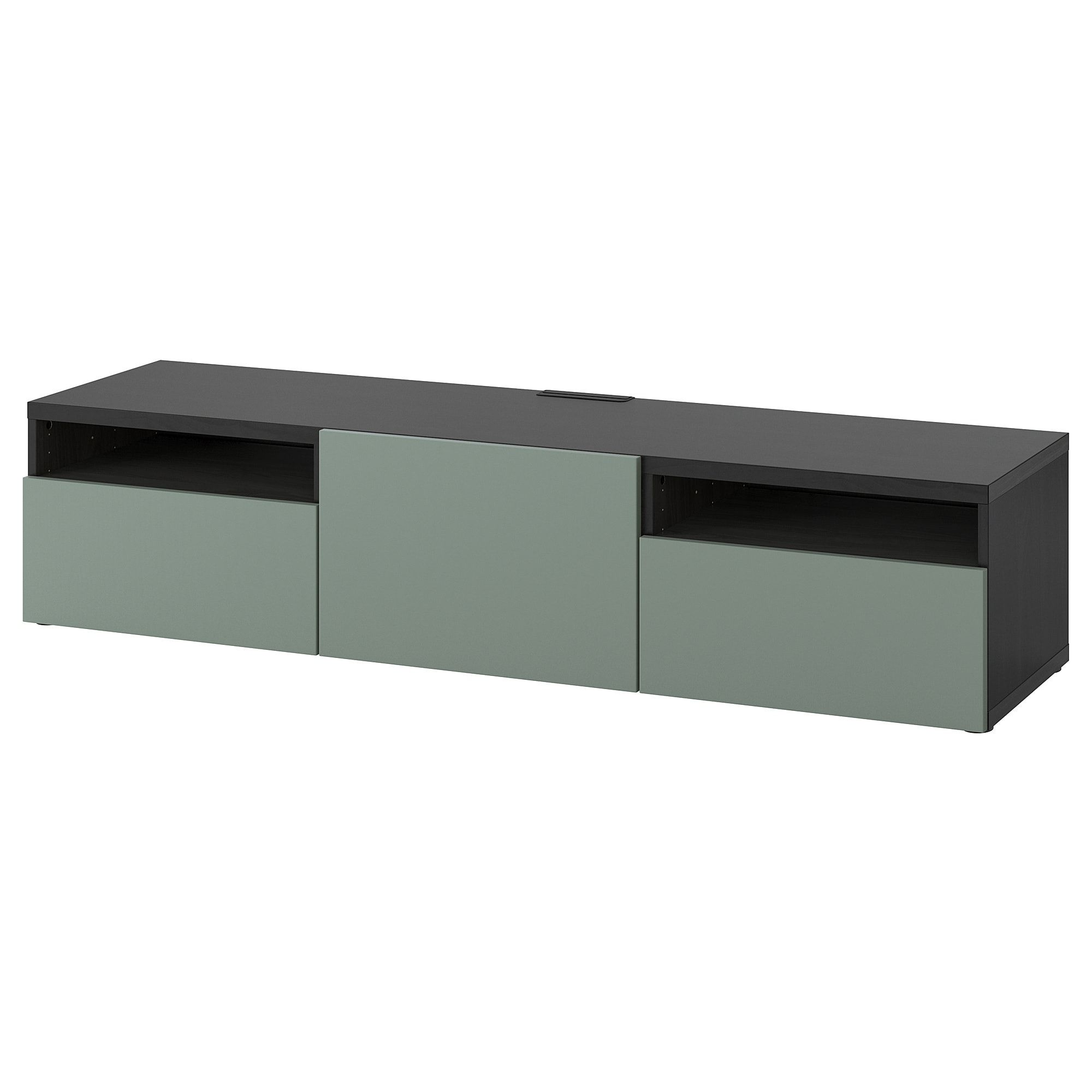Besta Tv Unit Black Brown Notviken Gray Green 70 7 8x16 1 2x15 3 8 Order Today Ikea In 2020 Tv Bench Tv Unit Ikea