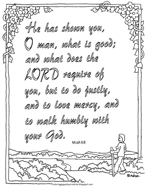 Colouring In Bible Verse Act Justly Love Mercy Walk Humbly