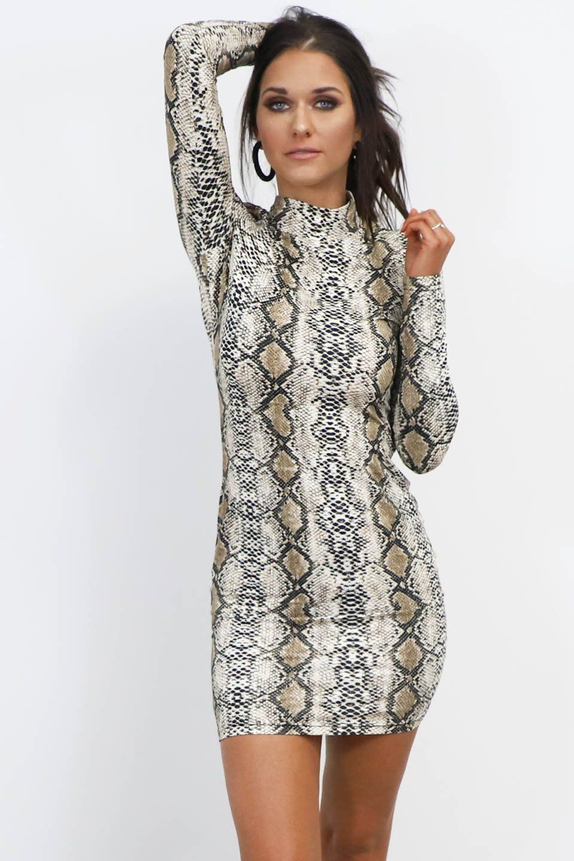 1b82ec6503 Not Shy Snakeskin Mock Neck Dress