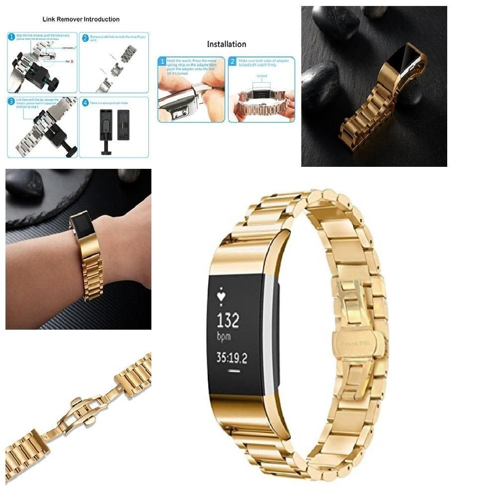 A gold tainless steel band shangpule stainless replacement smart