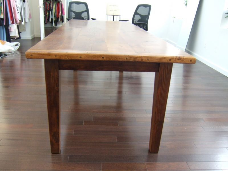 amish reclaimed old wood plank farm table with breadboard ends rh pinterest com
