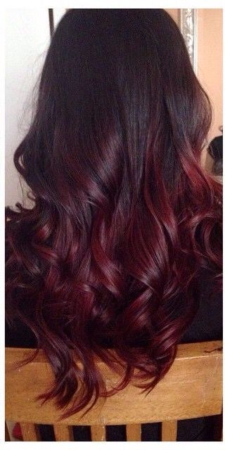 Deep Red Purple Ombre Hair Dye Tips Red Ombre Hair Burgundy Hair
