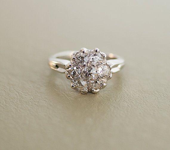 Antique 14k White Gold Diamond Flower Cluster Ring On Etsy 2 990 00 Antique Engagement Rings Thin Diamond Wedding Band Antique Wedding Rings