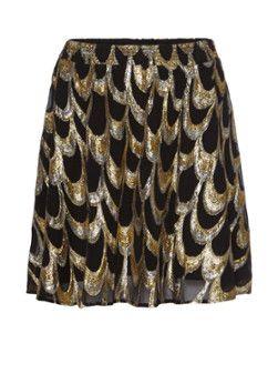 e50ca66477bd8b Gestuz Noville zijden plooirok met goudkleurig patroon Pailletten Rok