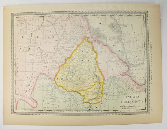1881 Upper Nubia Map Abyssinia Map 1881 Rand McNally Map of Africa