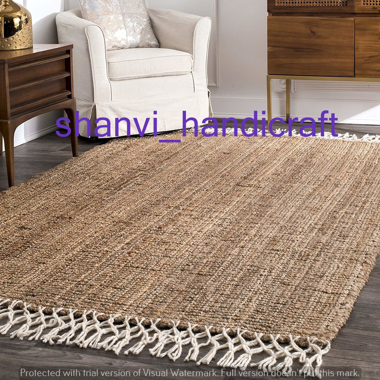 Jute Rug Natural Jute Rug Eco Rug Jute Handwoven Rug Indian Braided Floor Jute Rug Rectangle Rug Solid Area Rugs Carpet Natural Rug