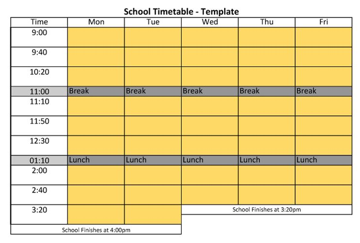 Day By Day Time Table Template Time Table Template School Study