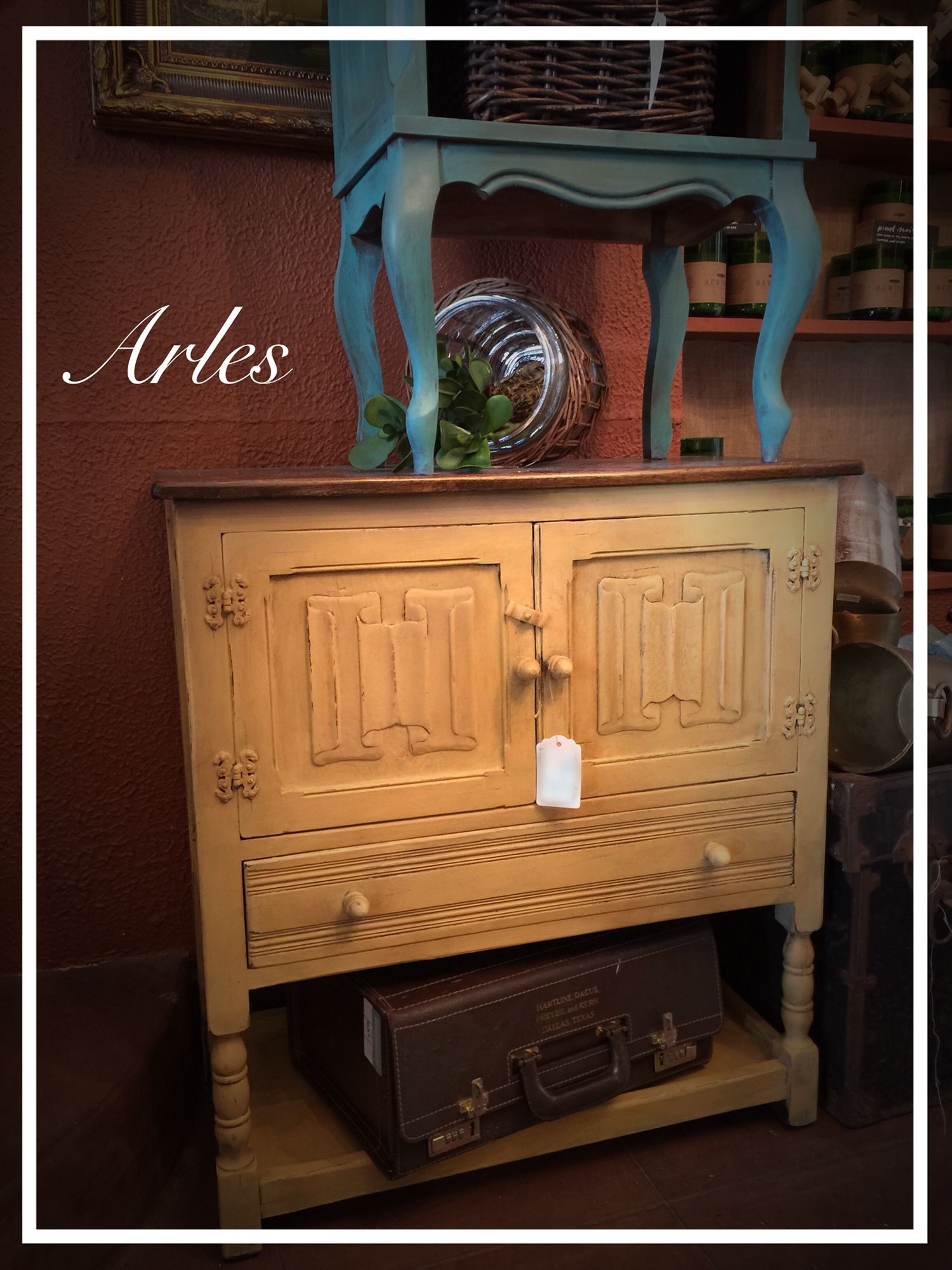 Paint furniture Tudor style cabinet painted with