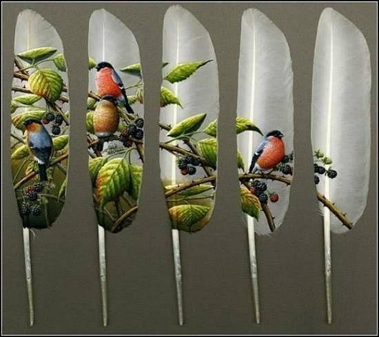 Pinturas en plumas de ganso de Ian Davey (6 fotos) — Tecnoculto