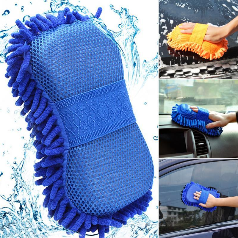 2 In 1 Car Washing Gloves Car Cleaning Sponge Coral