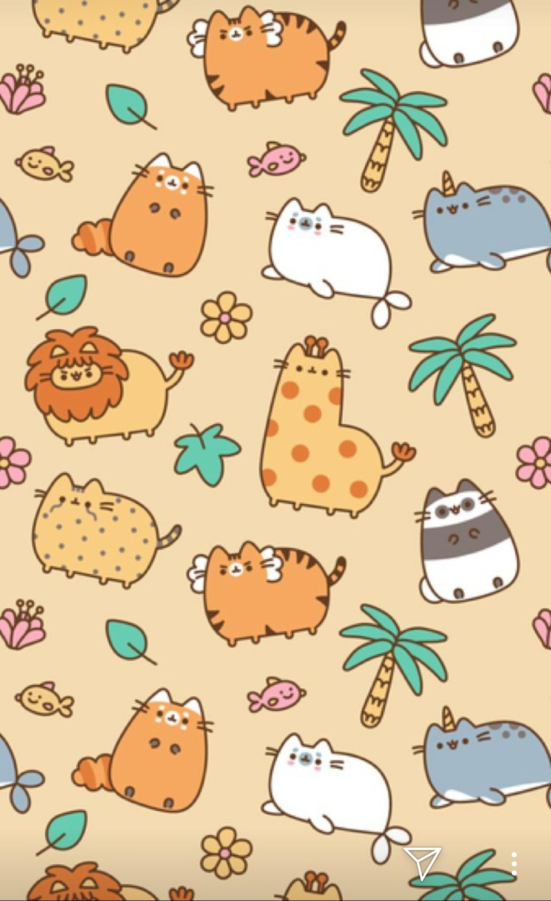 Pusheen Animals Phone Wallpaper 可愛い待ち受け 可愛いイラスト