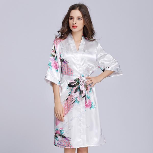 c68cf699e83a7 White Women Kimono Bathrobe Sexy Bride Wedding Party Robe Dressing Gown  Printed Bridesmaid Robes Bridal Shower Gift Sleepwear
