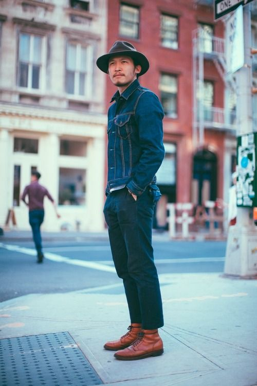 Denim Jacket Hat Boots Fashion Men Tumblr Style Streetstyle The