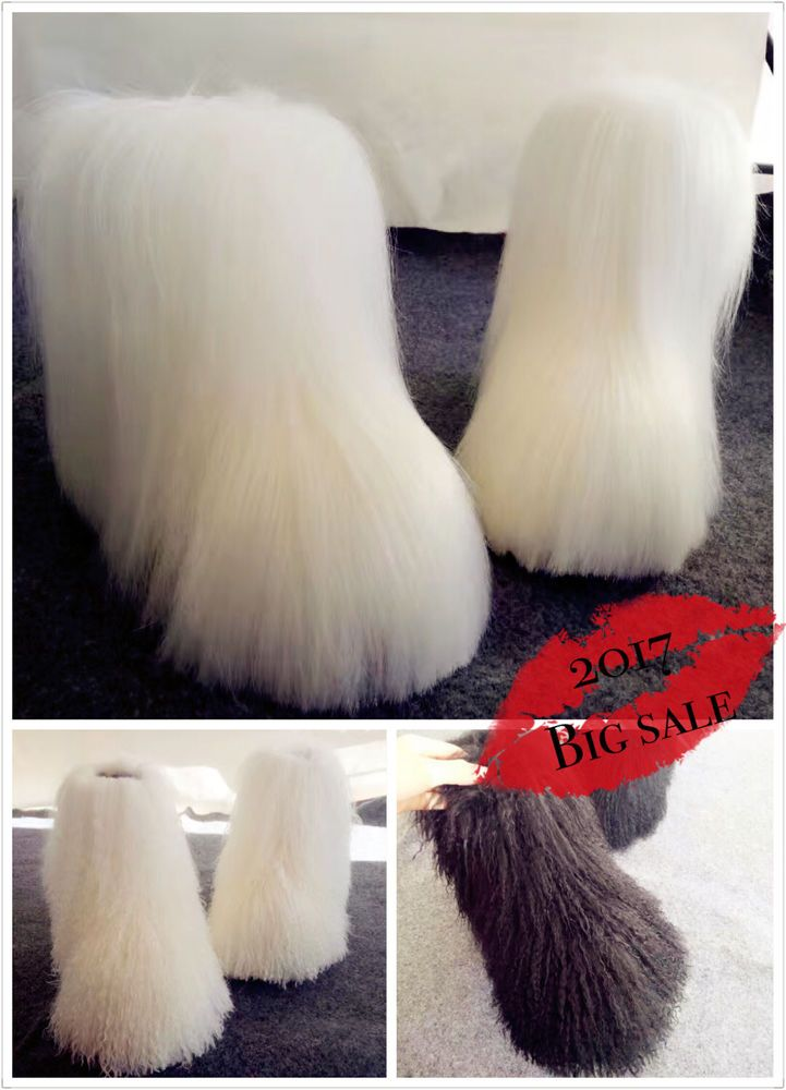 Womens Mid Calf Snow Boots Luxury Fur Ostrich Feather Furry Flats Booties Shoes