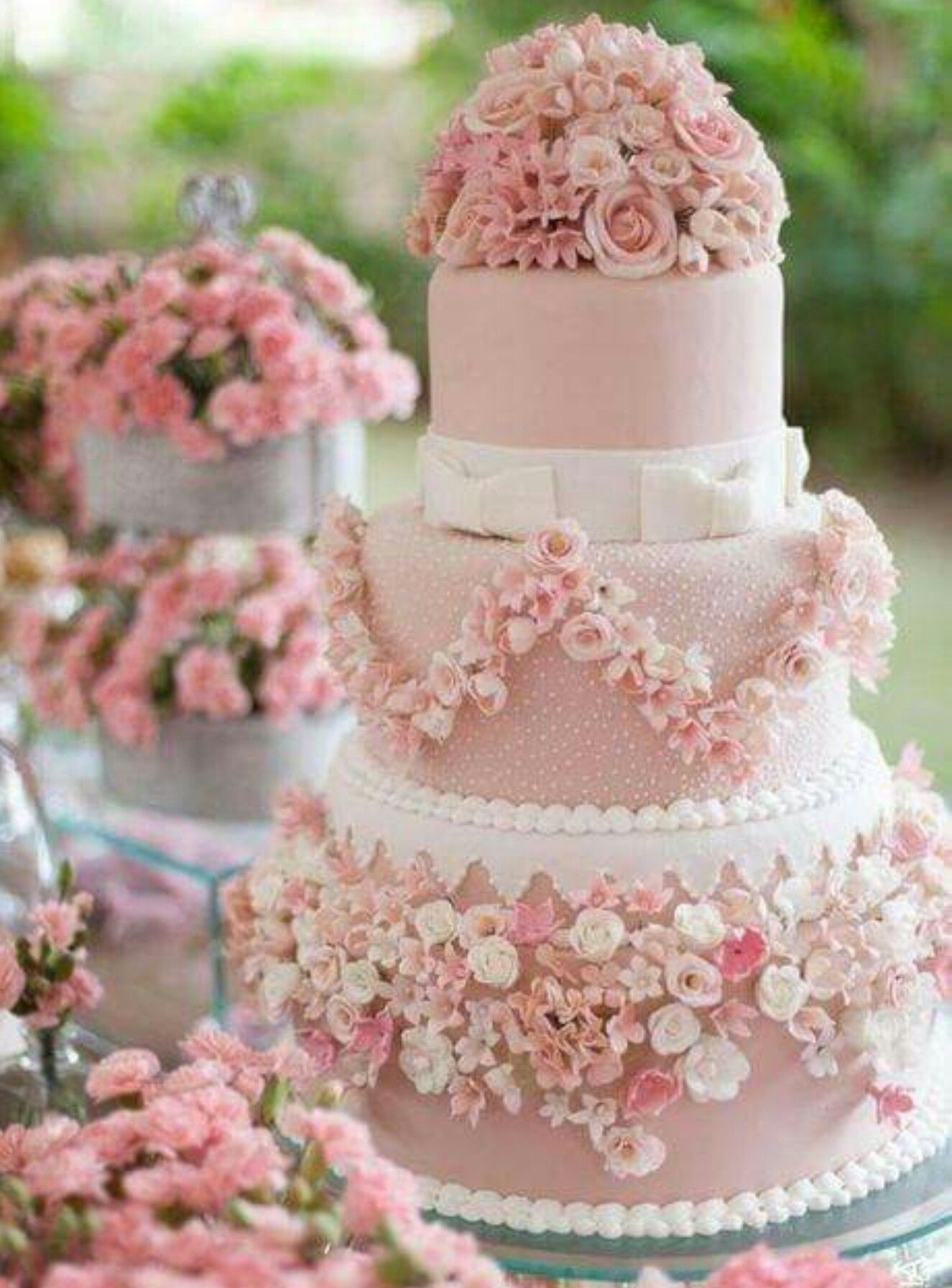 Pink Floral Tone Tier Wedding Cake Pretty Traditional Cake