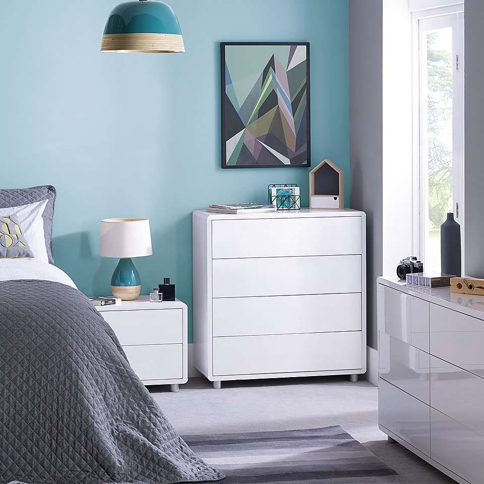 dunelm soho contemporary curved high gloss white 2 drawer bedside rh pinterest com