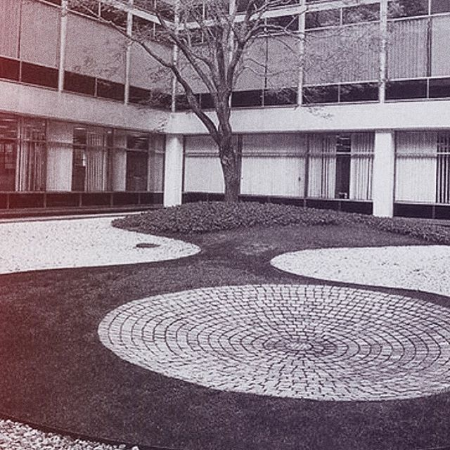 Patio interior con grava blanca y cantos rodados negros for Paisajismo de patios
