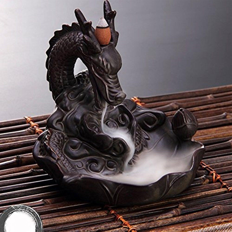 Incense Holder,Incense Cone Burners Incense Burners Smoke Backflow Ceramic Glaze Censer Cone Holder Home Decoration Gold