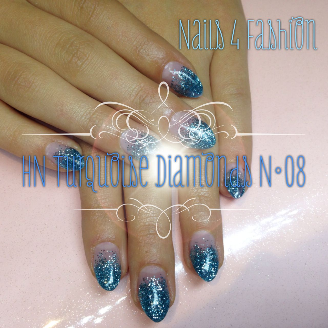Hollywood Nails Turquoise Diomonds Nails 4 Fashion