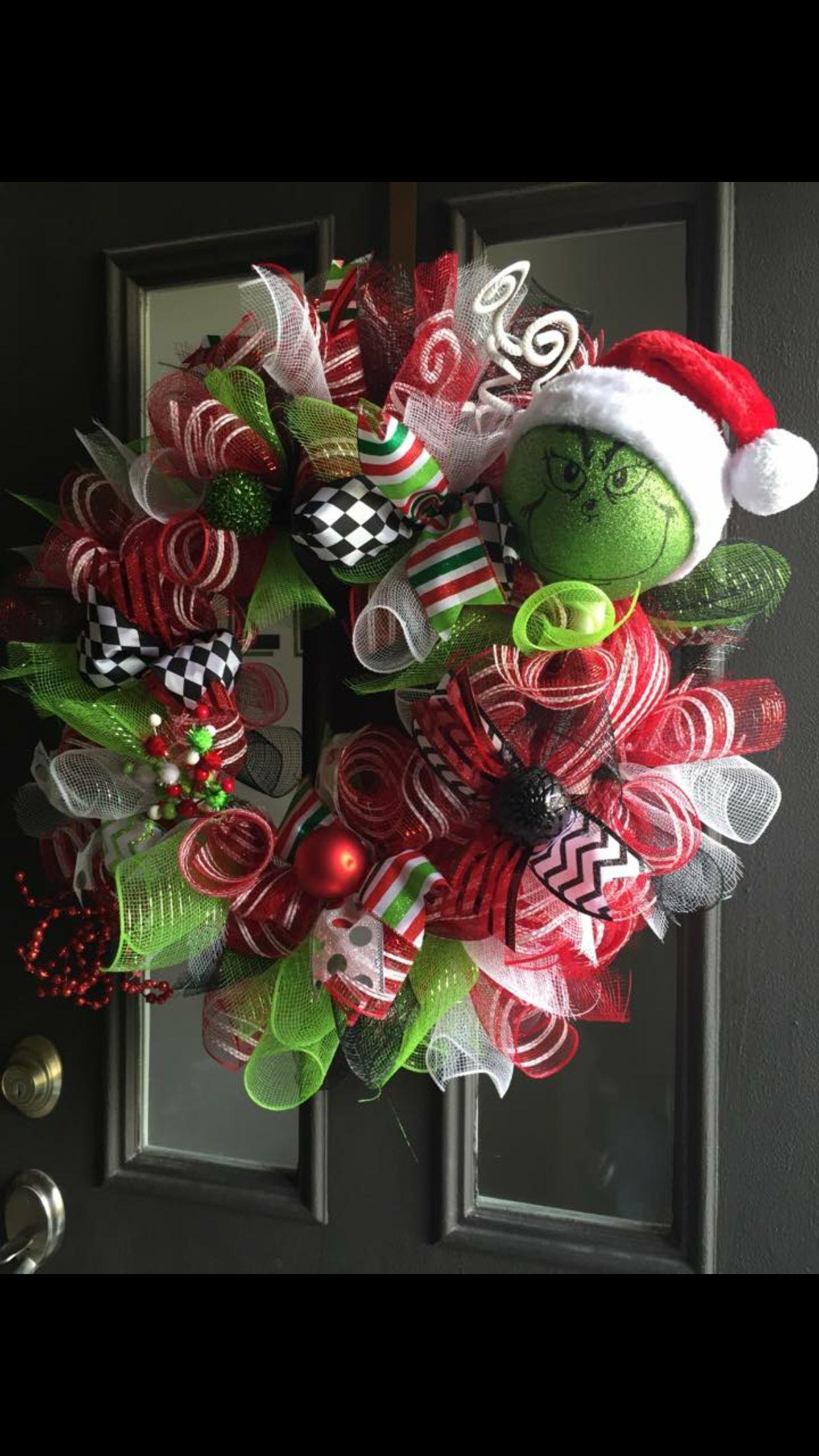 Fiber optic christmas snowman wreath decoration - Grinch Wreath