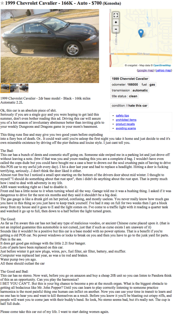 A Hilariously Honest Chevy Cavalier Ad On Craigslist