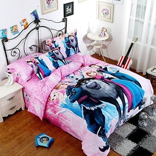 Princess Elsa Anna Frozen Cartoon Comforter Bedding Set Queen Size A6 Flat  Sheet Duvet Cover Bed