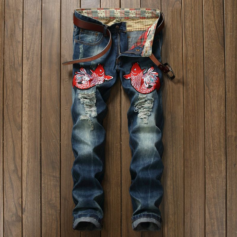 Hot Sale Fisf Embroidery Jeans Fashion Cutout Holo Blue Trousers. Yesterday's price: US $48.00 (38.99 EUR). Today's price: US $41.76 (33.92 EUR). Discount: 13%.