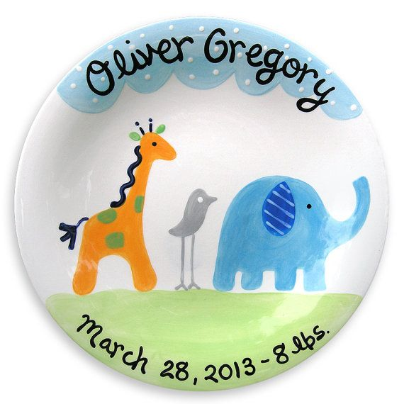 Personalized blue baby new baby gift safari baby boy blue personalized baby gift safari baby plate ceramic keepsake new baby gift baby negle Image collections