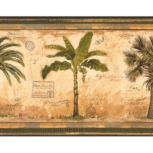 Wallpaper Border British East Ins Tropical Palm Trees
