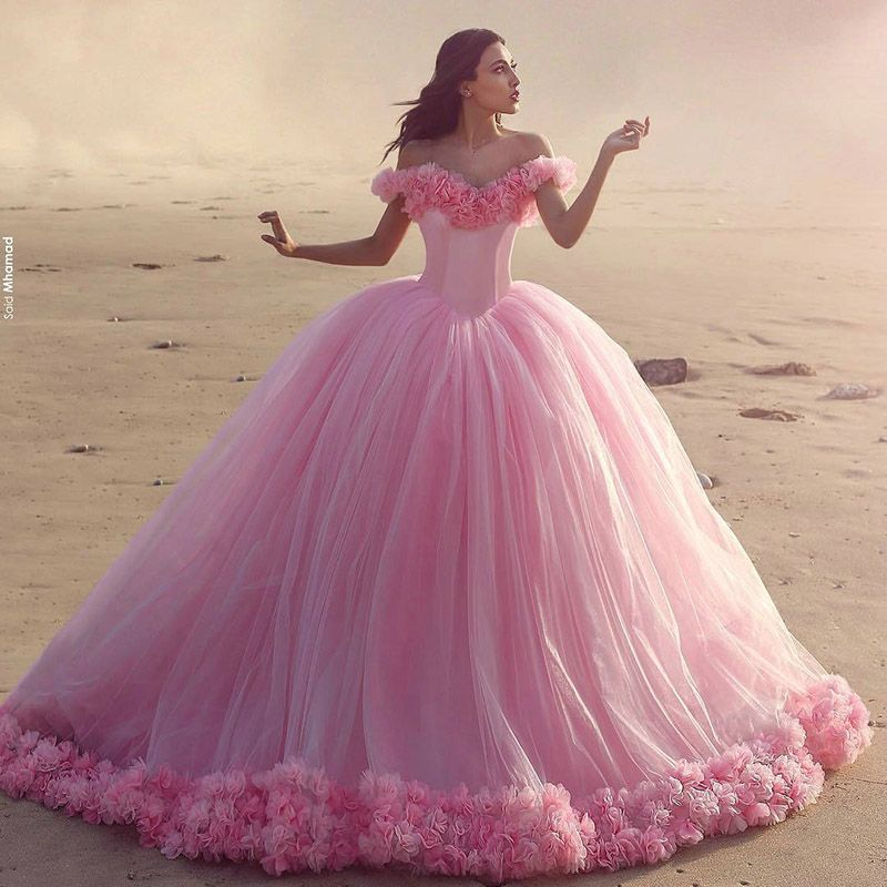 LIYATT Real Photo 2016 Off The Shoulder Flores Rosa Bebê Vestidos ...
