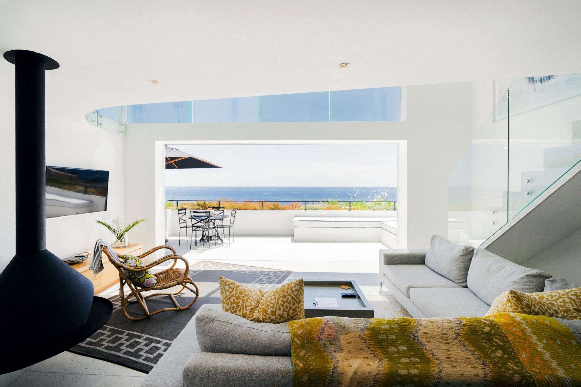 modern sea view living room with a fireplace 20001333 interior rh pinterest com